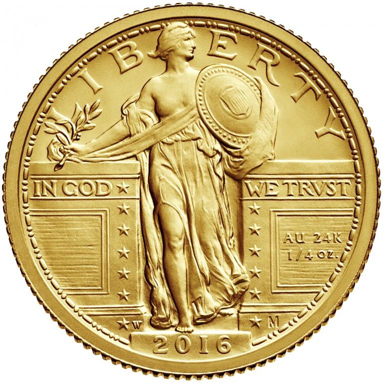 2016 Standing Liberty Centennial Gold Coin Obverse