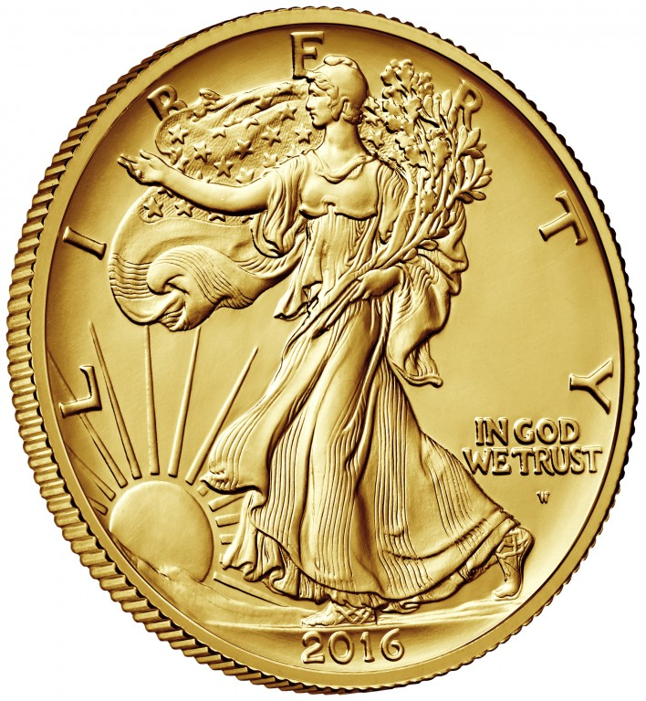 2016 Walking Liberty Centennial Gold Coin Obverse Angle