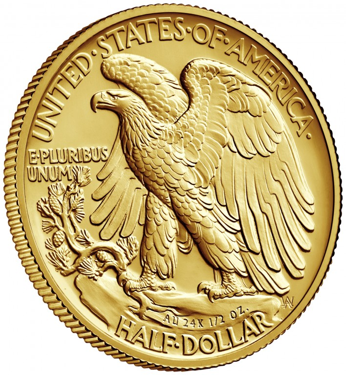 2016 Walking Liberty Centennial Gold Coin Reverse Angle