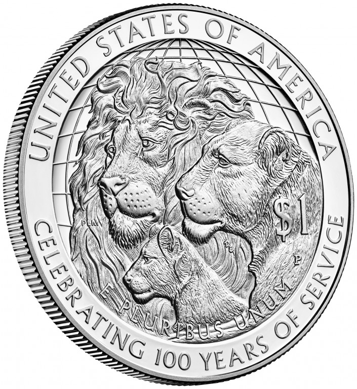 2017 Lions Clubs Commemorative Silver Proof Reverse Angle