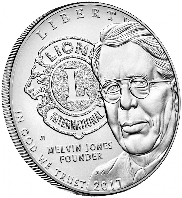 2017 Lions Clubs Commemorative Silver Uncirculated Obverse Angle