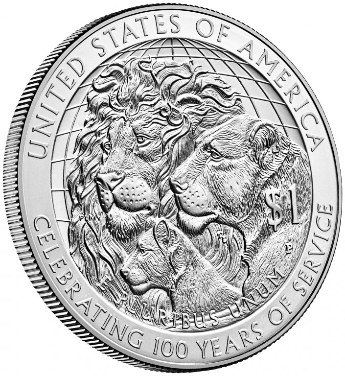 2017 Lions Clubs Commemorative Silver Uncirculated Reverse Angle