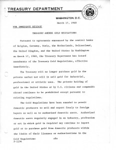 Treasury Amends Gold Regulations, March 17, 1968. Full text is duplicated in the body of this page.