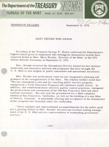 Mary Brooks Wins Award, September 11, 1972. Full text is duplicated in the body of this page.