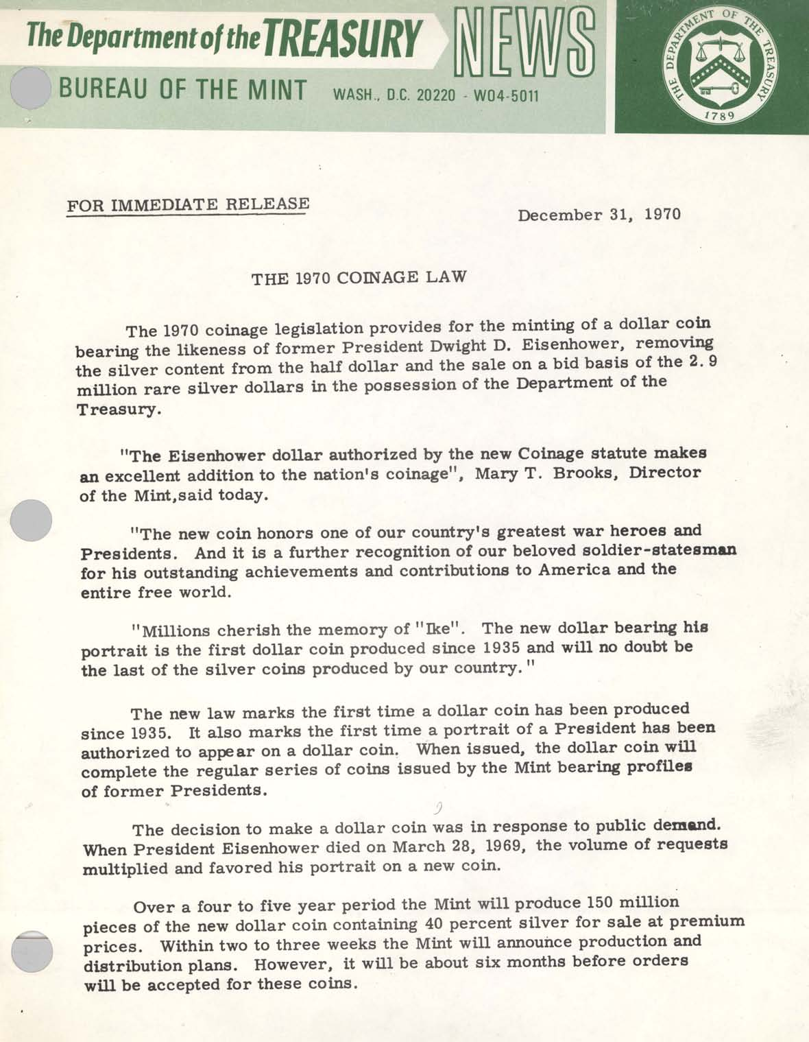 Historic Press Release: 1970 Coinage Law, Page 1