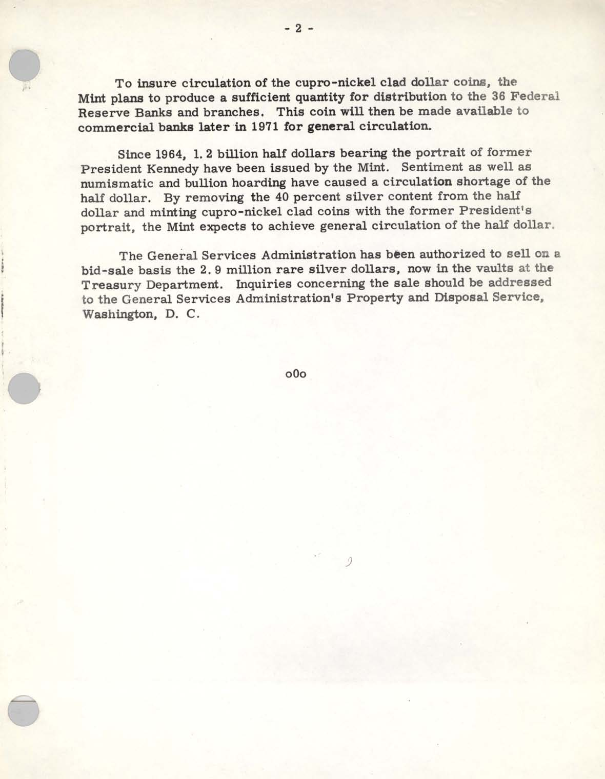 Historic Press Release: 1970 Coinage Law, Page 2