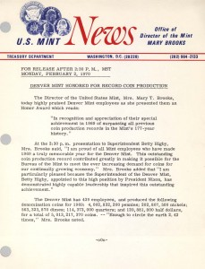 Denver Mint Honored for Record Coin Production, February 2, 1970. Full text is duplicated in the body of this page.
