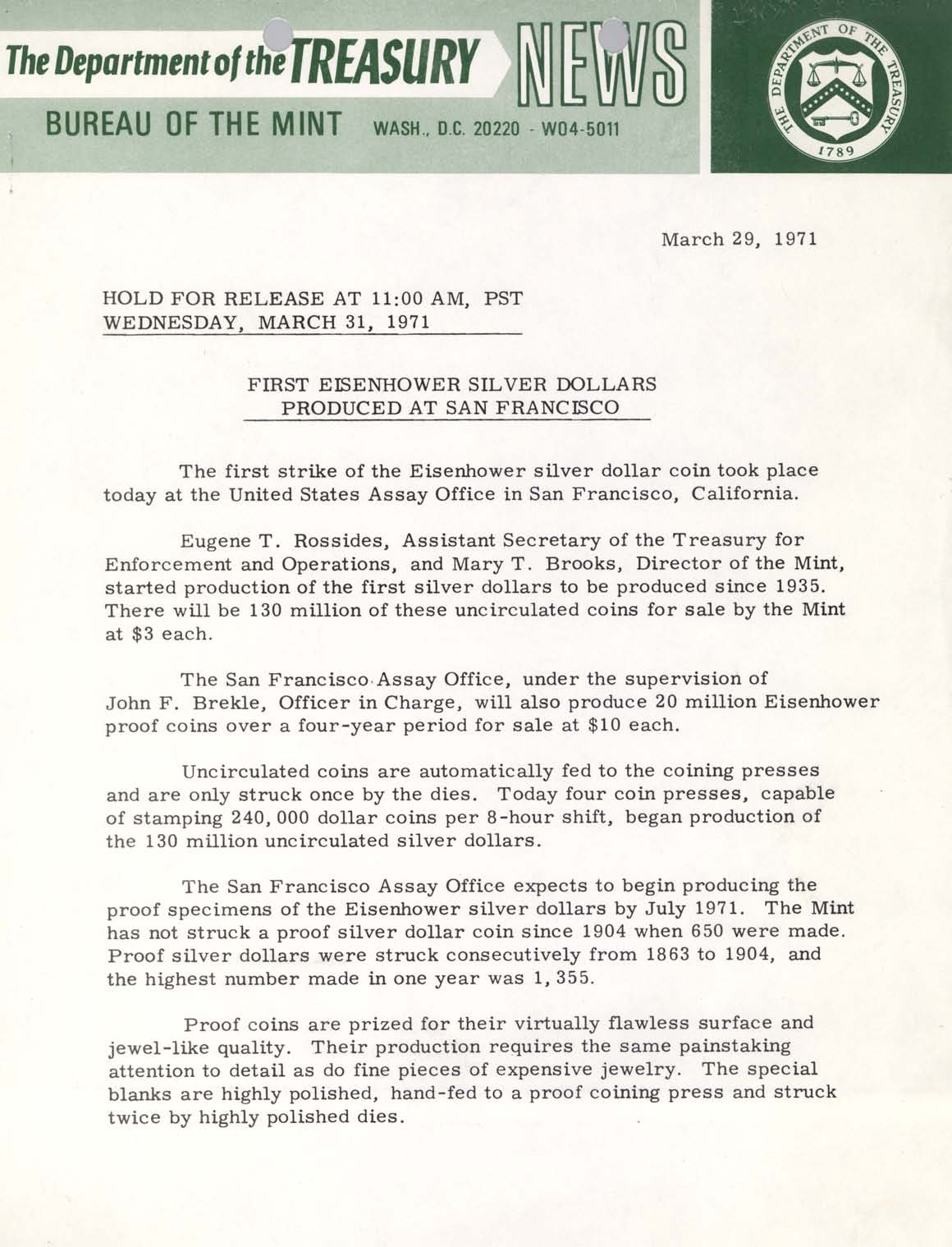 Historic Press Release: First Eisenhower Dollars Produced, Page 1