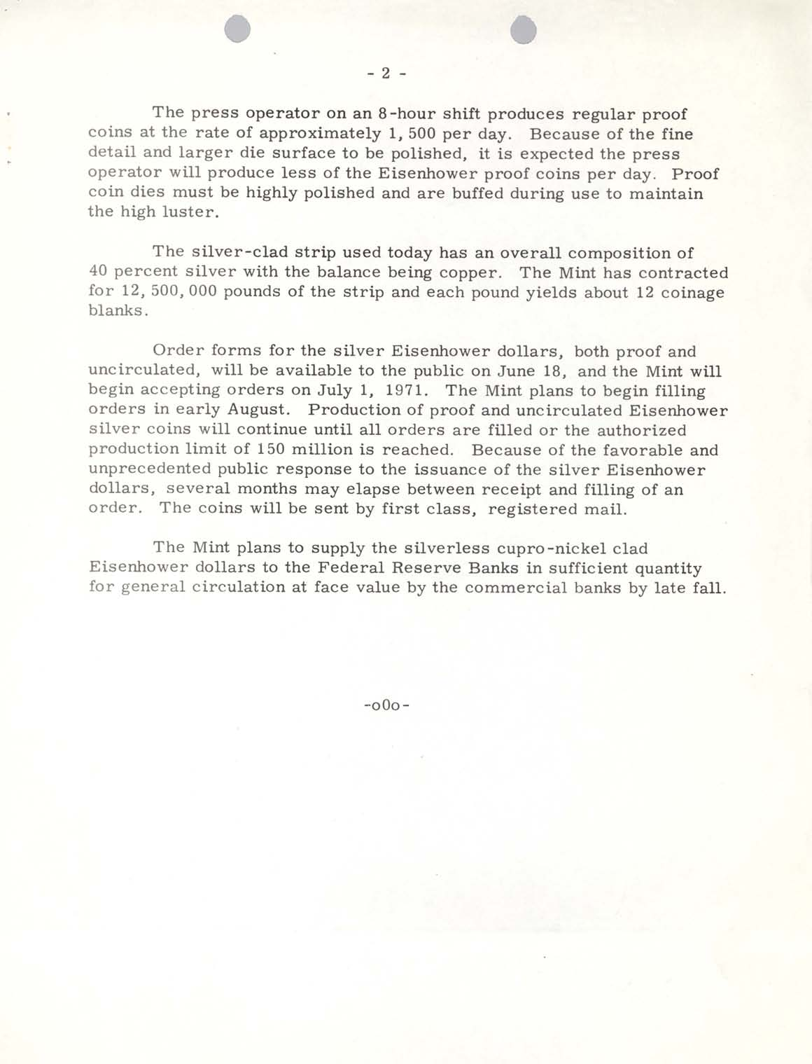 Historic Press Release: First Eisenhower Dollars Produced, Page 2