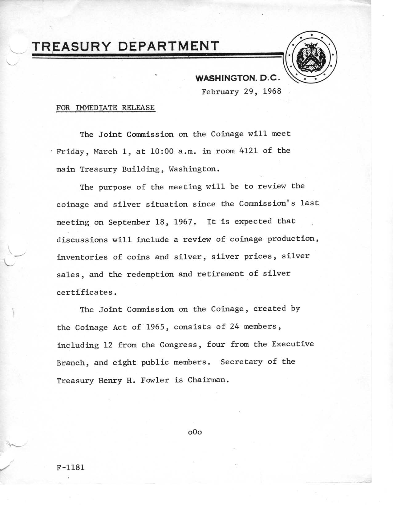 Historic Press Release: Joint Commission on Coinage, Page 1
