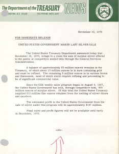 United States Government Makes Last Silver Sale, November 10, 1970. Full text is duplicated in the body of this page.