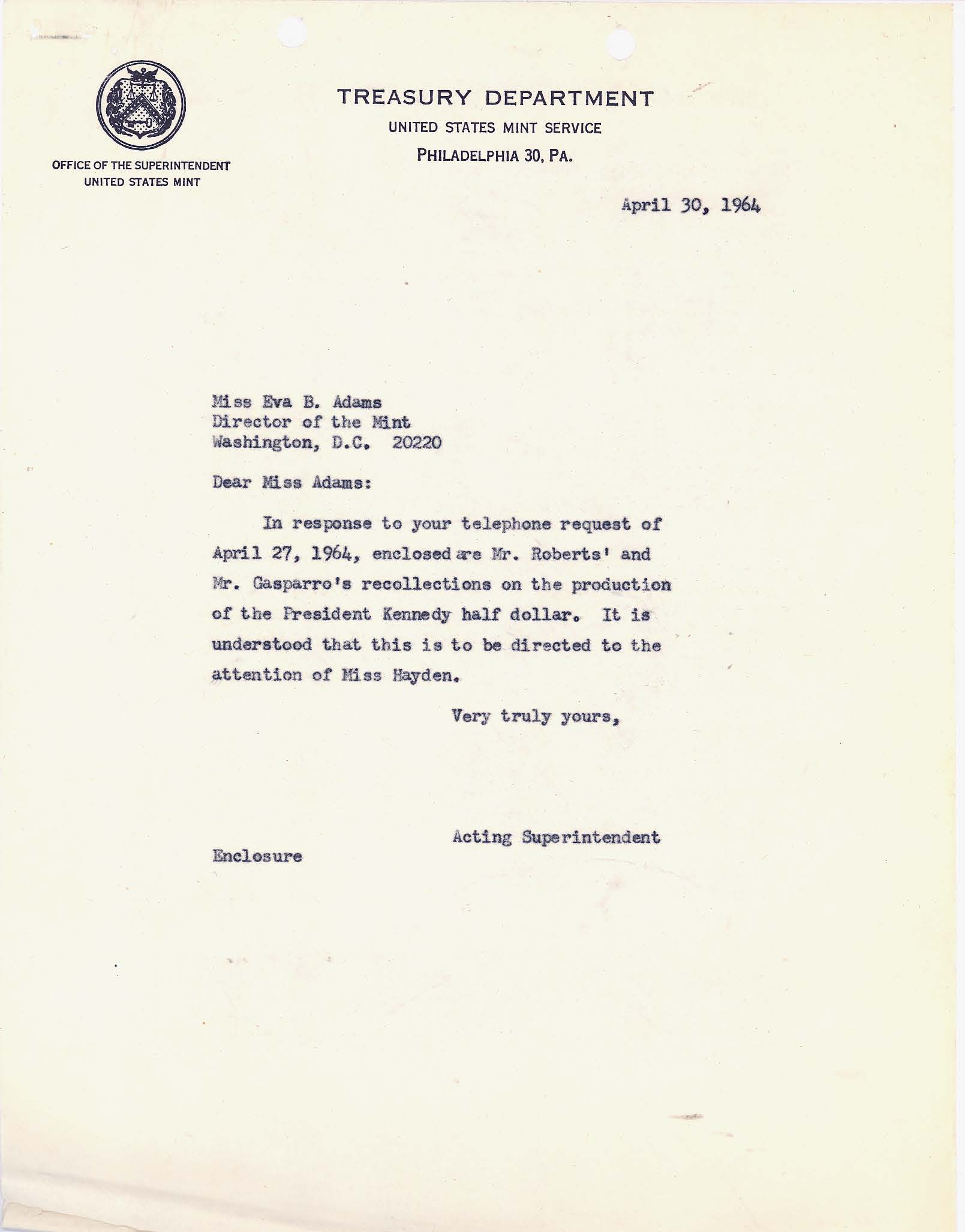 Letter to Director Adams: Kennedy Half Dollar Production, Page 1
