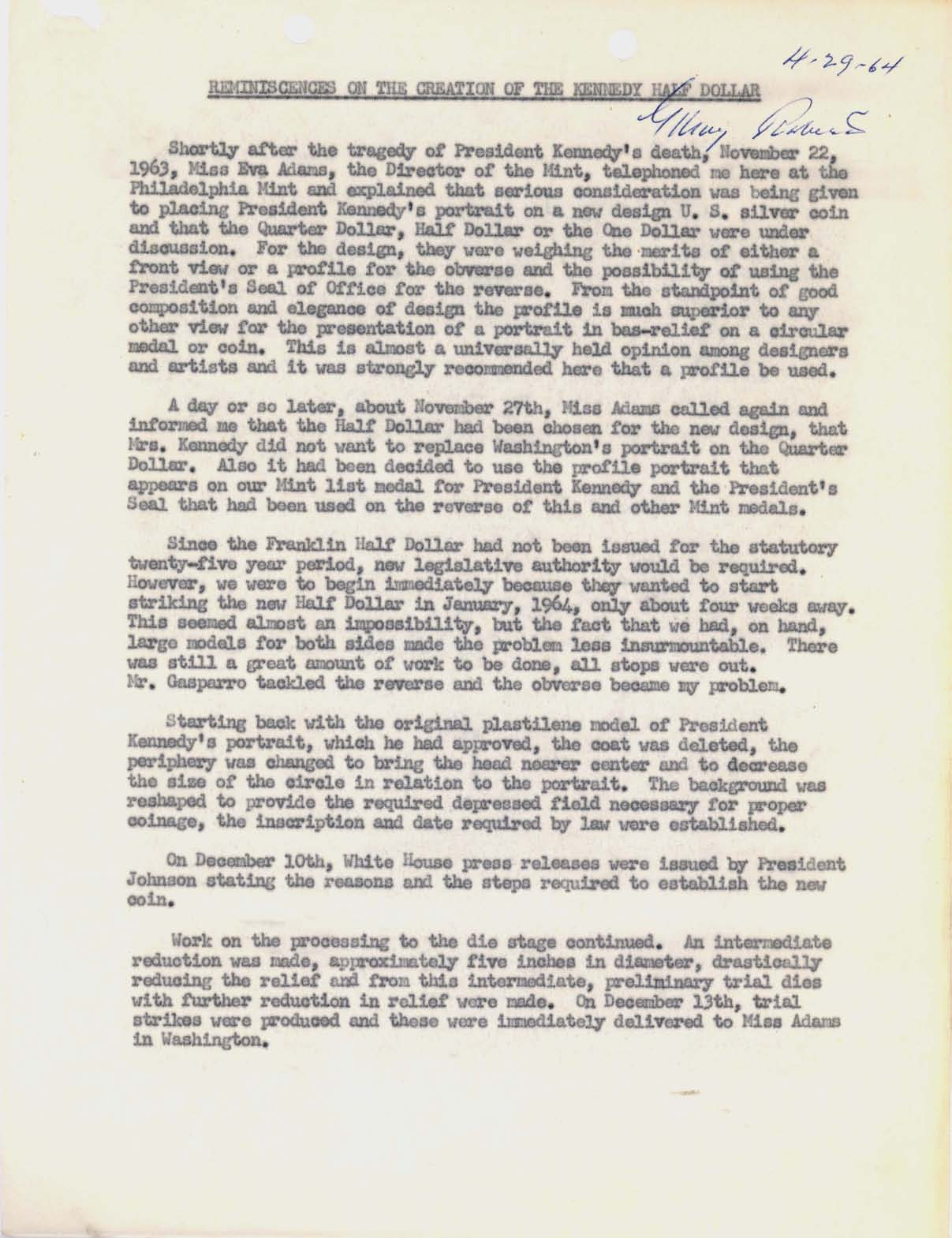 Letter to Director Adams: Kennedy Half Dollar Production, Page 2