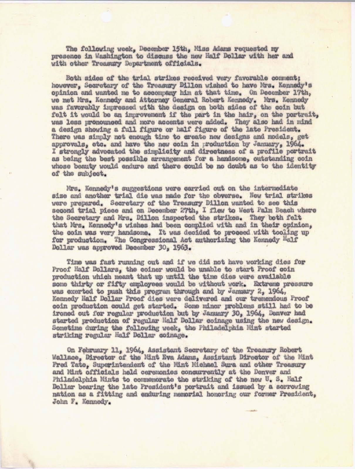 Letter to Director Adams: Kennedy Half Dollar Production, Page 3