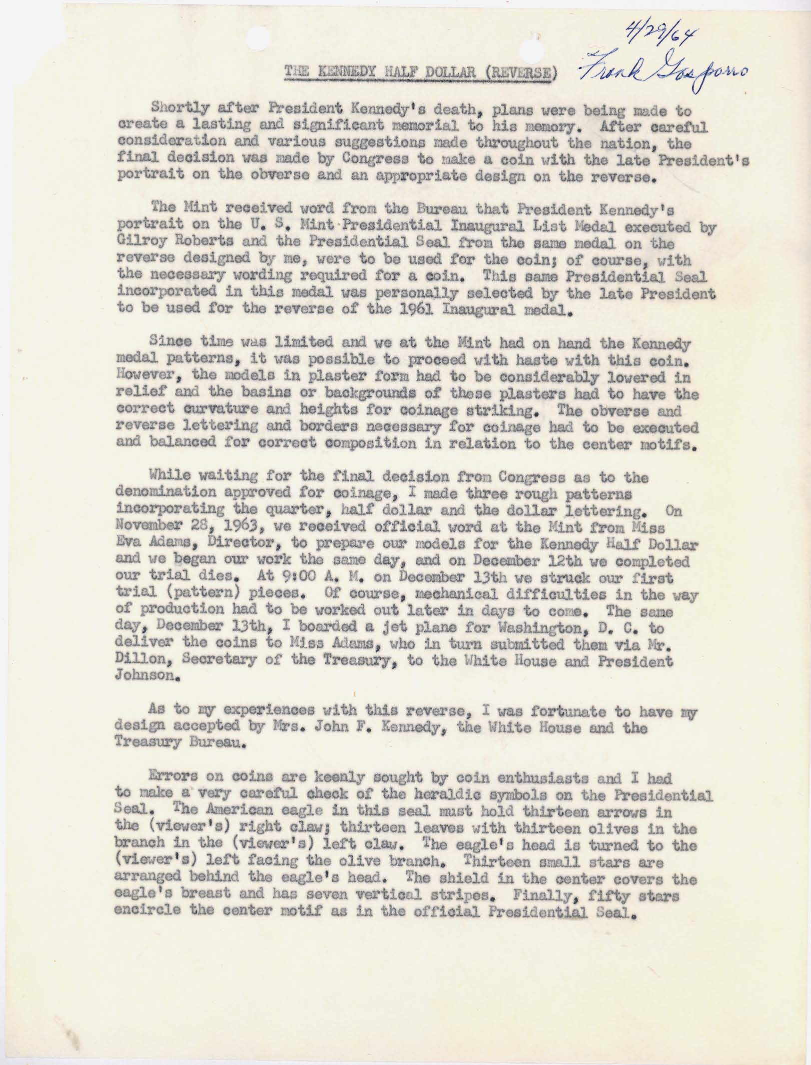 Letter to Director Adams: Kennedy Half Dollar Production, Page 5