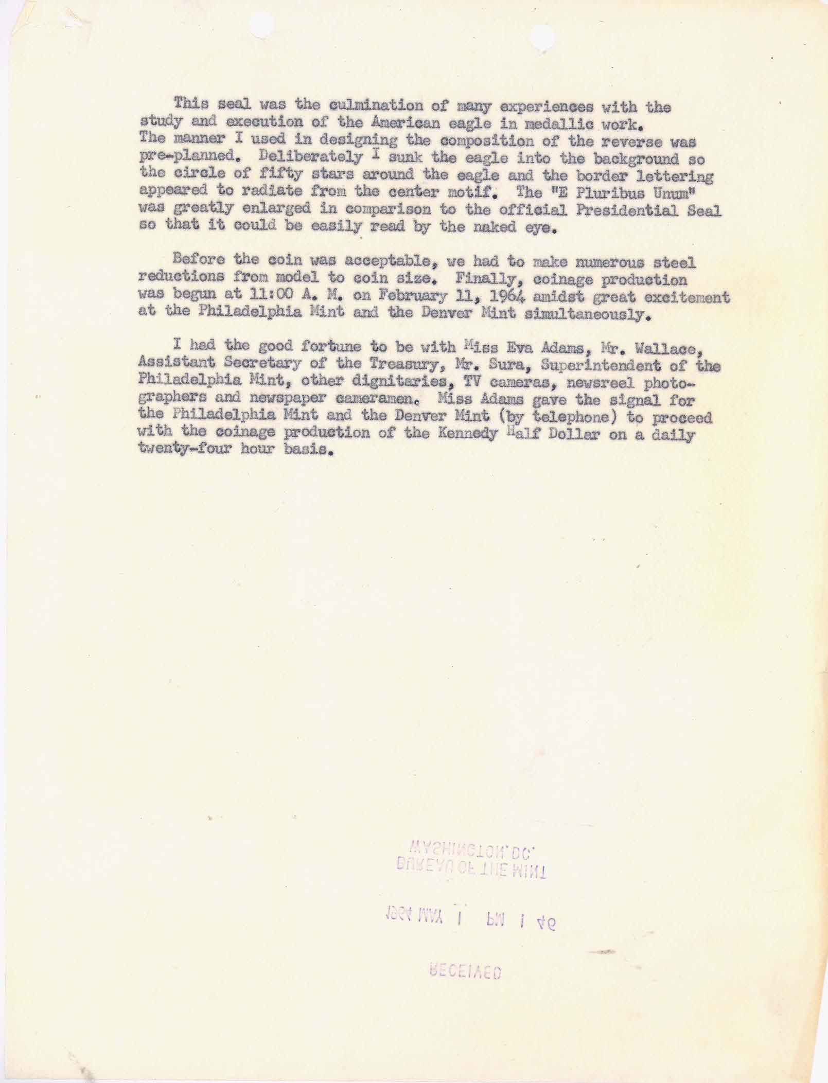 Letter to Director Adams: Kennedy Half Dollar Production, Page 6