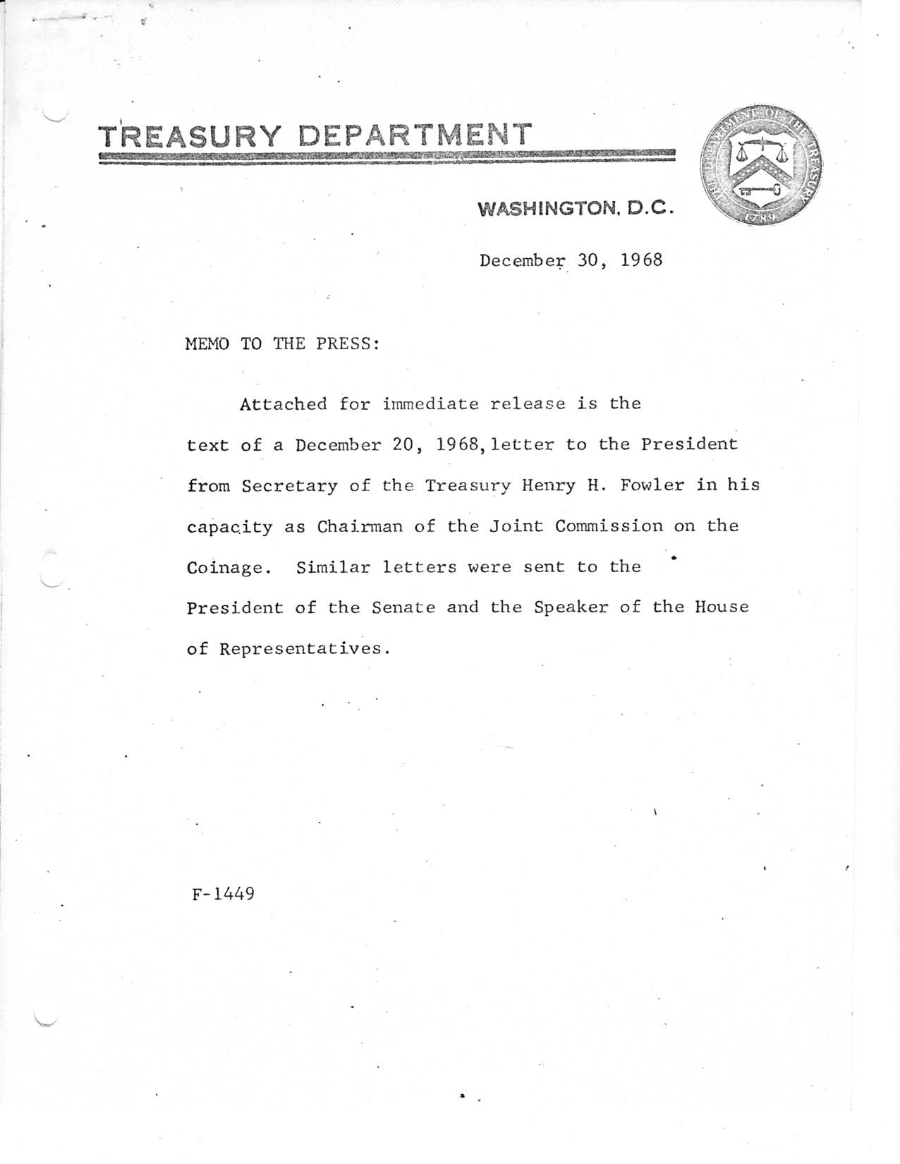 Historic Press Release: Letter to President From Treasury Secretary, Page 1