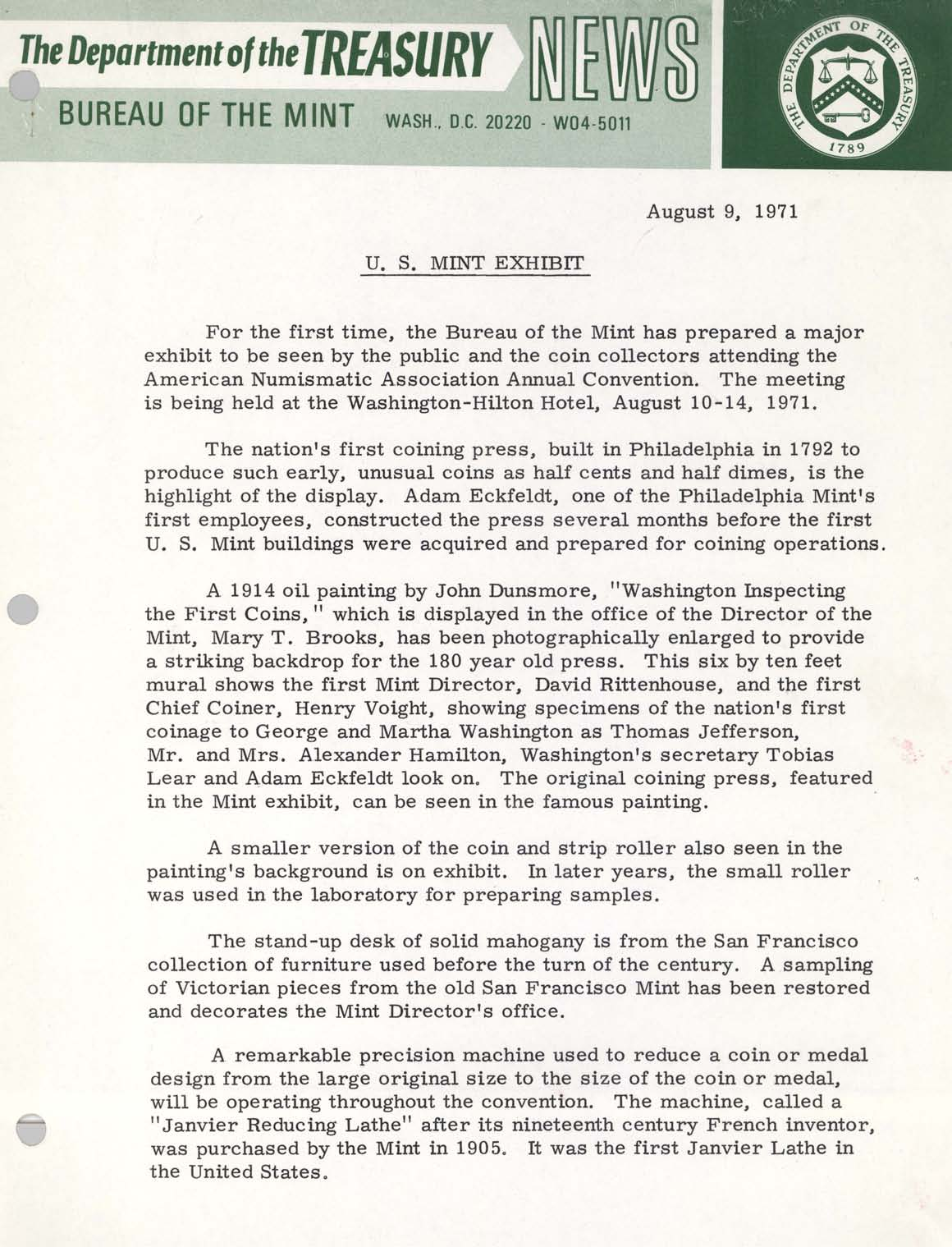 Historic Press Release: Mint Exhibit at ANA 1971, Page 1