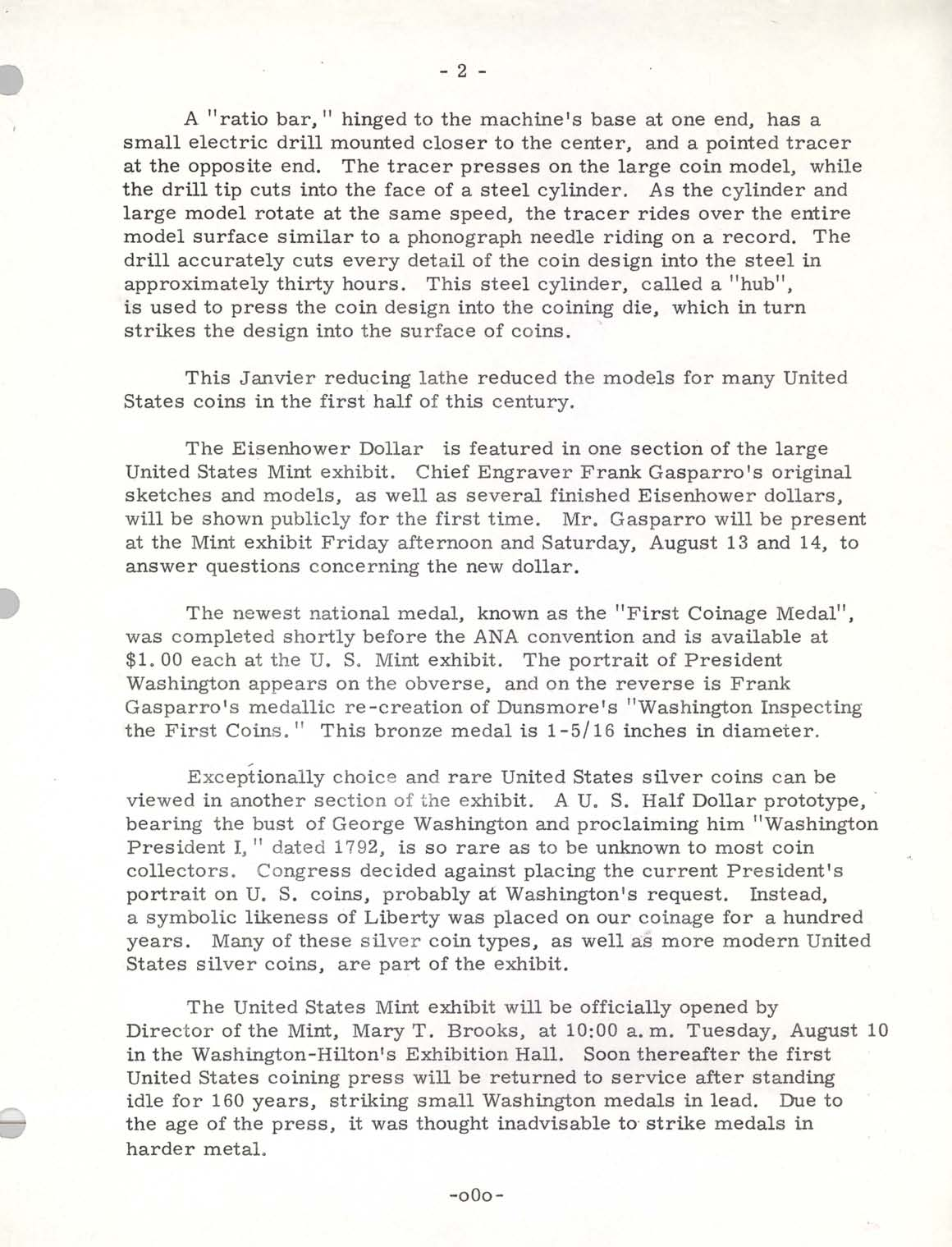 Historic Press Release: Mint Exhibit at ANA 1971, Page 2