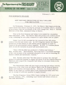 Mint Resumes Production of Half Dollars for Circulation, February 3, 1971. Full text is duplicated in the body of this page.