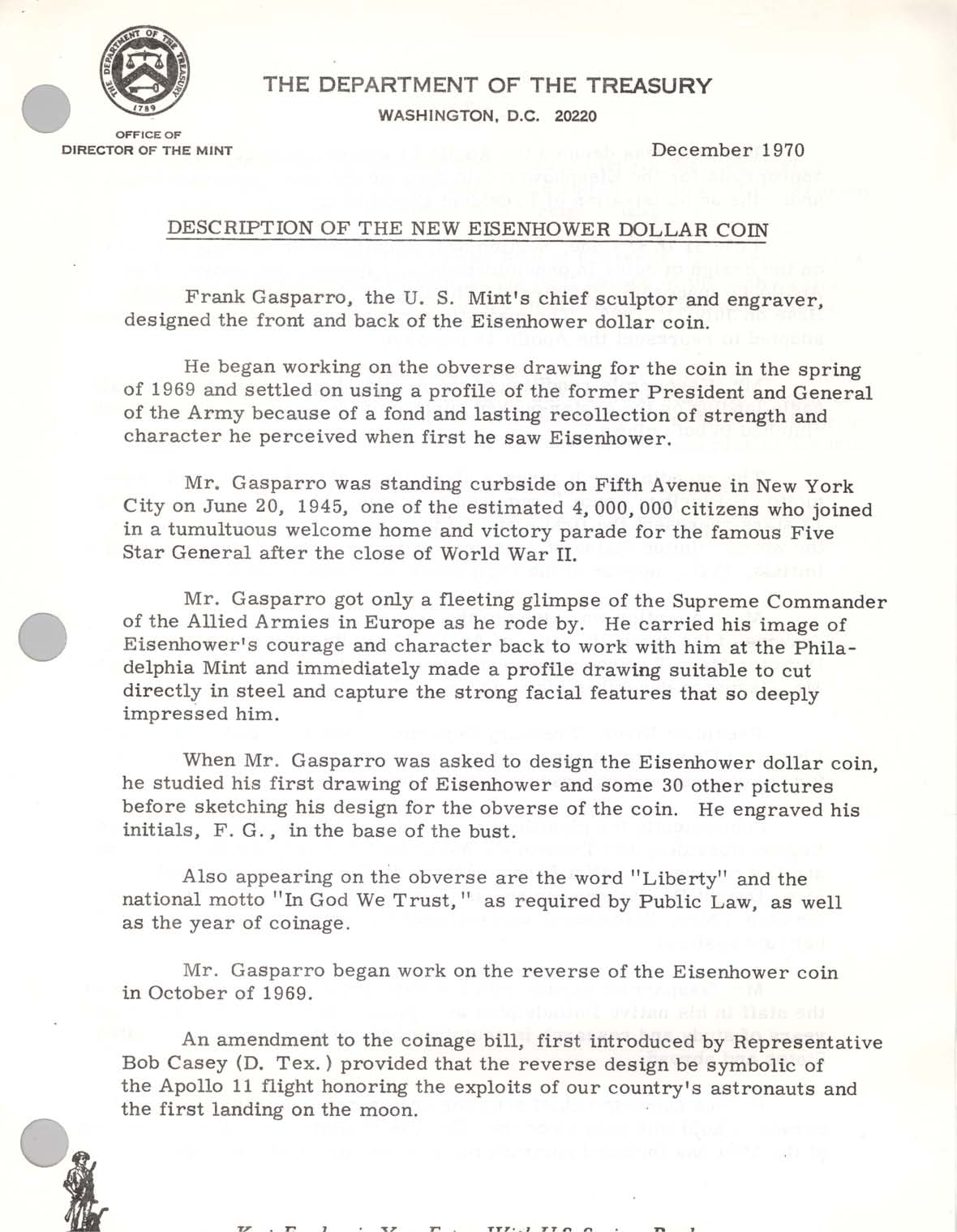 Description of New Eisenhower Dollar, Page 1