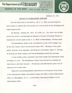 Historic Press Release, January 19, 1971. Full text is duplicated in the body of this page.