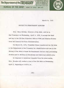Historic Press Release, March 31, 1972. Full text is duplicated in the body of this page.