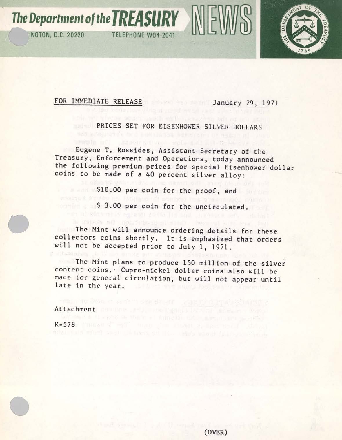 Historic Press Release: Prices Set Eisenhower Dollar, Page 1