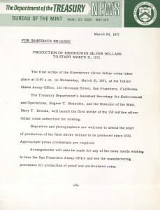 Production of Eisenhower Silver Dollars to Start March 31, 1971. Full text is duplicated in the body of this page.