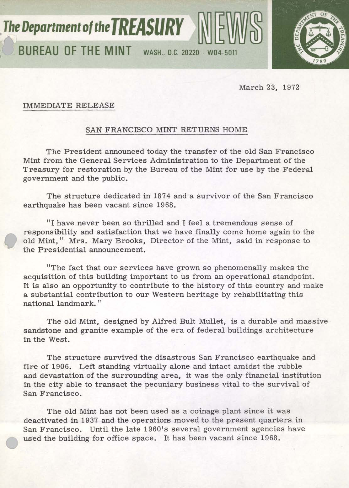 Historic Press Release: San Francisco Mint Returns, Page 1