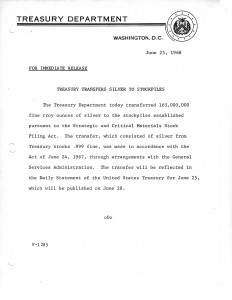 Treasury Transfers Silver to Stockpiles, June 25, 1968. Full text is duplicated in the body of this page.