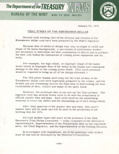 Trial Strike of the Eisenhower Dollar, January 25, 1971. Full text is duplicated in the body of this page.