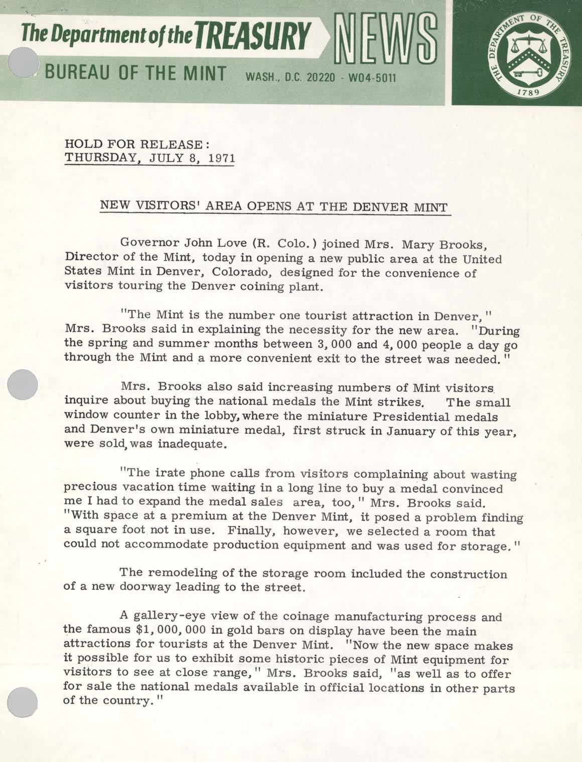 Historic Press Release: Visitors Area Denver, Page 1
