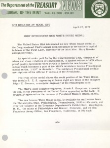 Mint Introduces New White House Medal, April 27, 1972. Full text is duplicated in the body of this page.