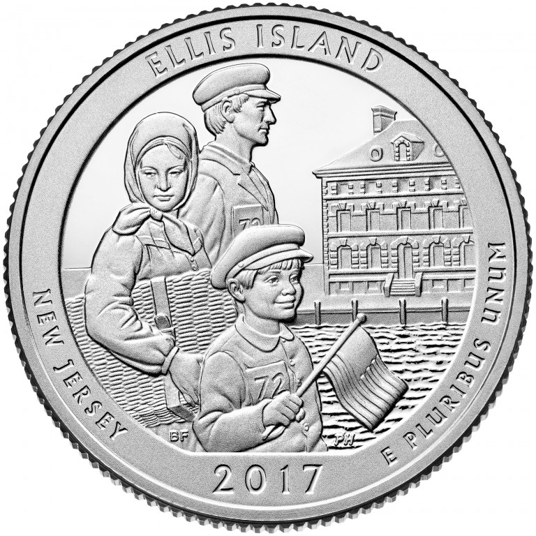 2017 America the Beautiful Quarters Coin Ellis Island New Jersey Proof Reverse