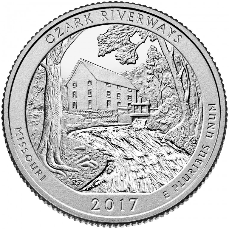 2017 America the Beautiful Quarters Coin Ozark Riverways Missouri Proof Reverse
