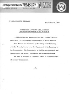 President Appoints Mrs. Brooks to Commission on School Finance, September 16, 1971. Full text is duplicated in the body of this page.
