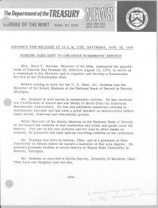 Hoskins Joins Mint to Organize Numismatic Service, August 22, 1970. Full text is duplicated in the body of this page.