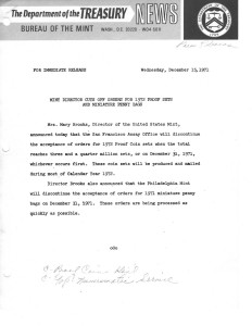 New Director Cuts Off Orders for 1972 Proof Sets and Miniature Penny Bags, December 15, 1971. Full text is duplicated in the body of this page.