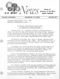 Colorado Professor Takes Oath as Assayer of Denver Mint, February 2, 1970. Full text is duplicated in the body of this page.