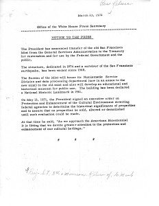 Office of White House Press Secretary press release, March 23, 1972. Full text is duplicated in the body of this page.