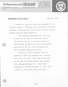 Historic Press Release, June 18, 1970. Full text is duplicated in the body of this page.