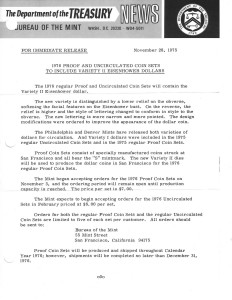 Historic Press Release, November 28, 1975. Full text is duplicated in the body of this page.