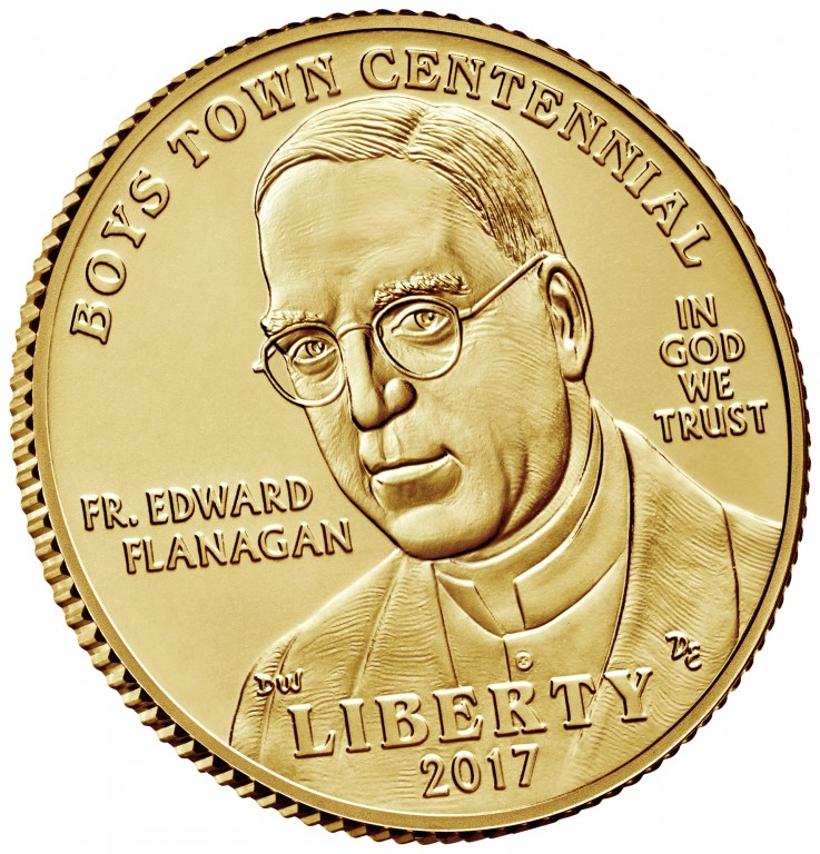 2017 Boys Town Commemorative Gold Uncirculated Obverse Angle