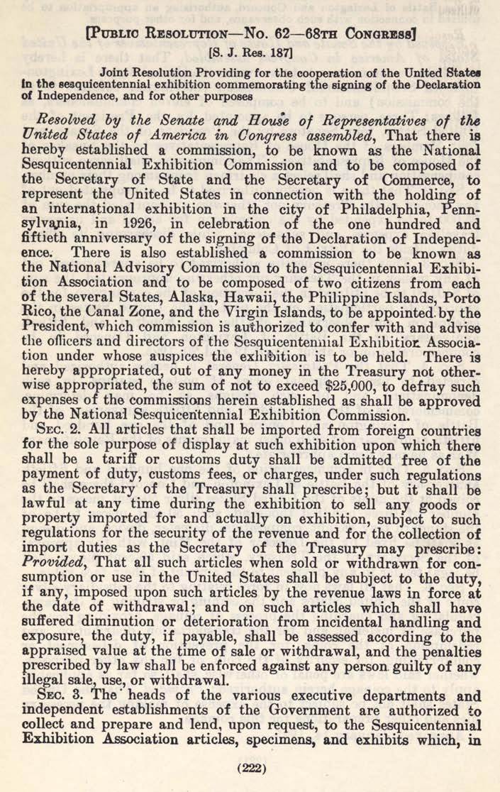 Historic Legislation: American Independence Sesquicentennial Coin Act, Page 1