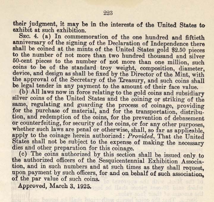 Historic Legislation: American Independence Sesquicentennial Coin Act, Page 2