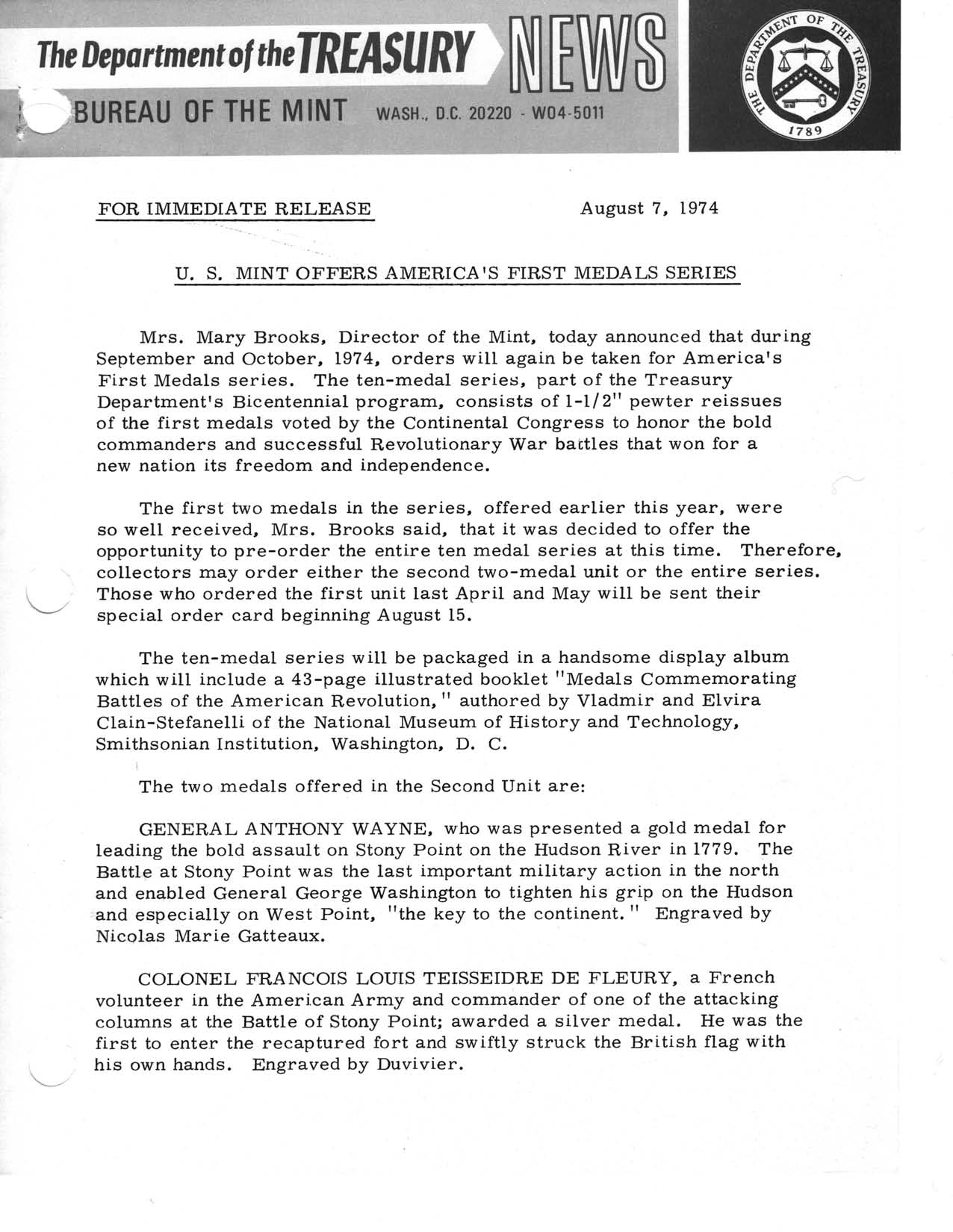 Historic Press Release: America's First Medals Series, Page 1