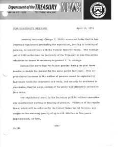 Historic Press Release, April 15, 1974. Full text is duplicated in the body of this page.