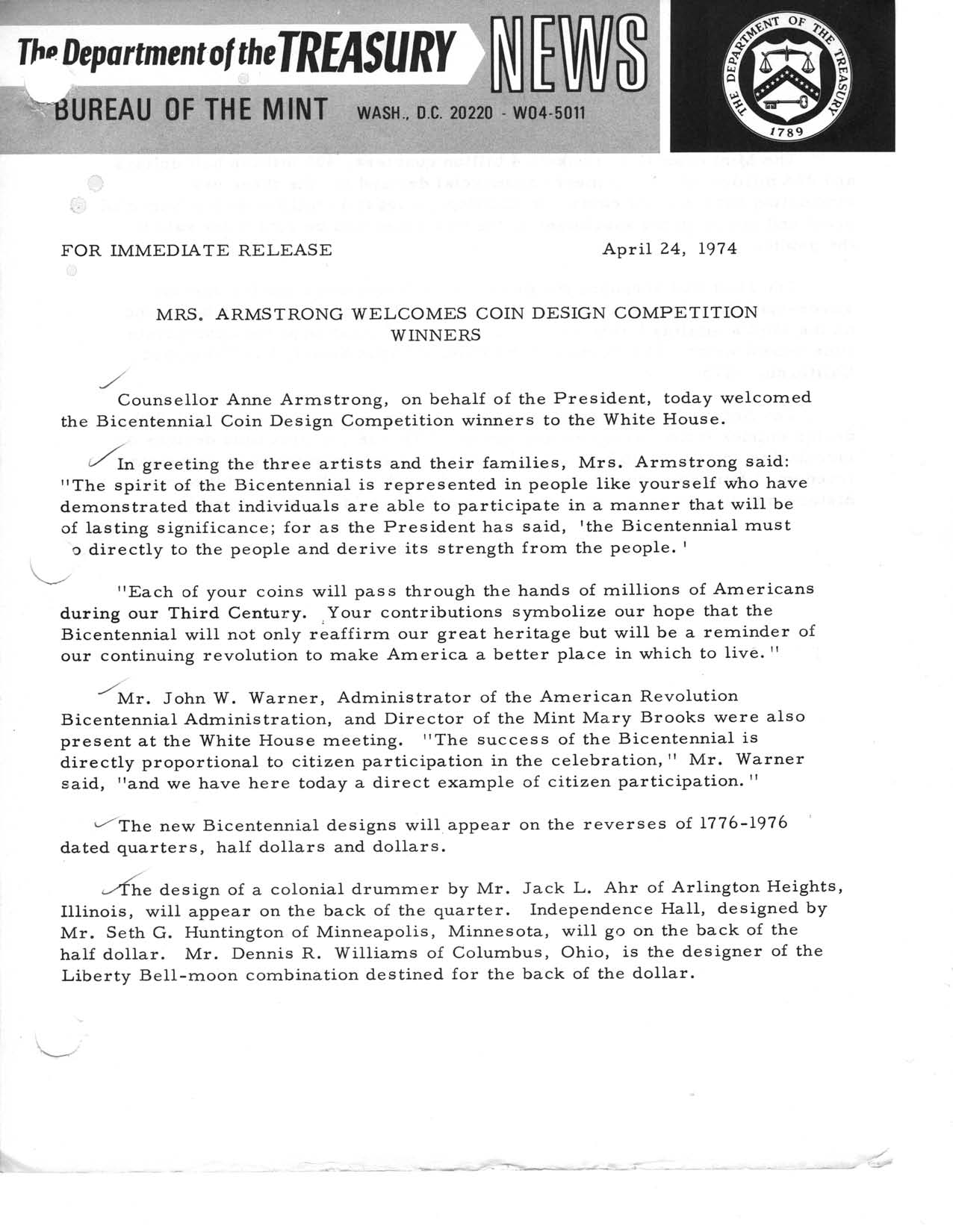Historic Press Release: Armstrong Welcomes Competition Winners, Page 1