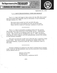 Historic Press Release, September 27, 1974. Full text is duplicated in the body of this page.
